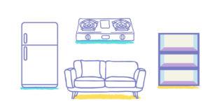 入居前にやること:食器や家電の下にシートを敷く